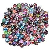 Soleebee 50 Piezas Botón de Presión Mezclado al Azar Vidrio de Aluminio Redondo 18mm Accesorios De Joyería (Flor del anacardo)