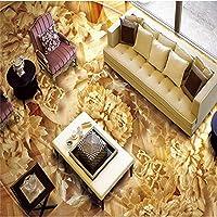 Ljjlm 木製牡丹木製3D立体フローリングカスタム大型フレスコPvc防水増粘ウェアラブルフロアステッカー-200X150Cm