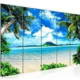 Runa Art Wandbild XXL Strand Palmen 200 x 80 cm Blau Beige