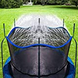 Bobor Trampoline Sprinkler for Kids, Outdoor Trampoline Backyard Water Park Sprinkler Fun Summer Outdoor Water Toys for Boys Girls. (Blue, 39ft)