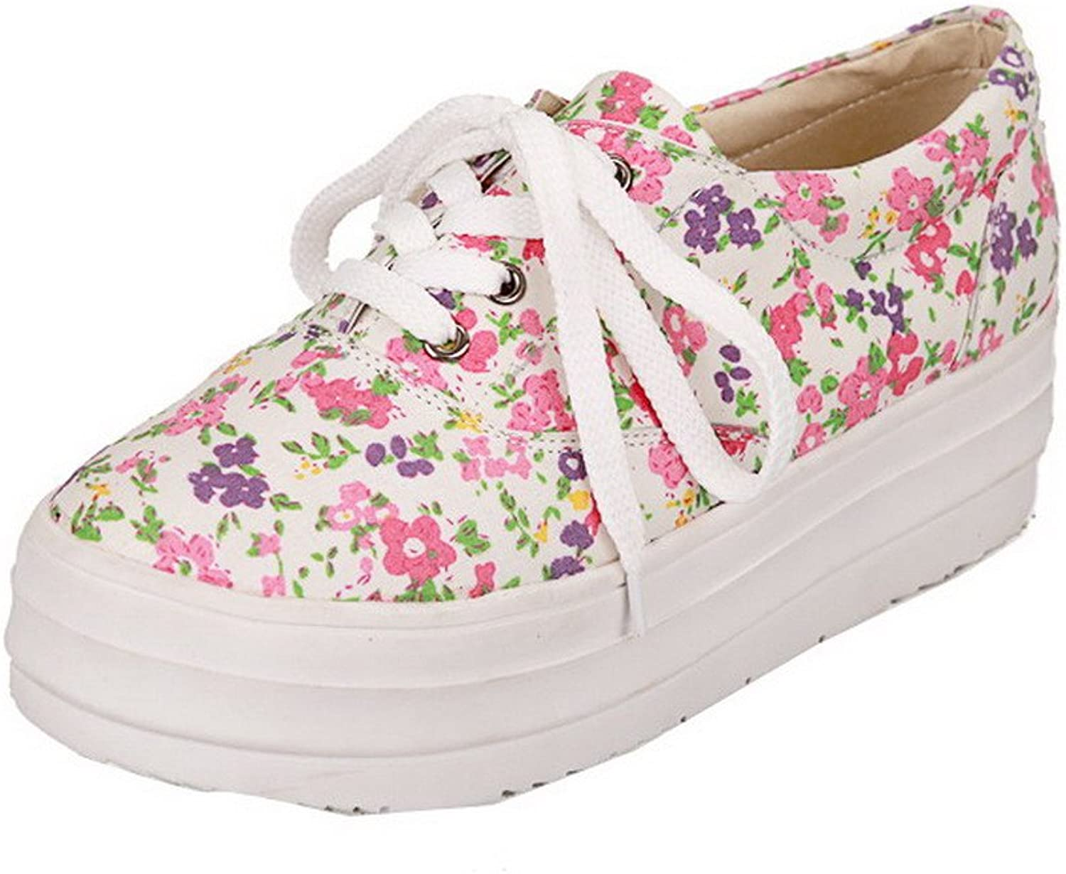 WeiPoot Women's Round Closed Toe Lace-up Fabric Floral Kitten-Heels Pumps-shoes