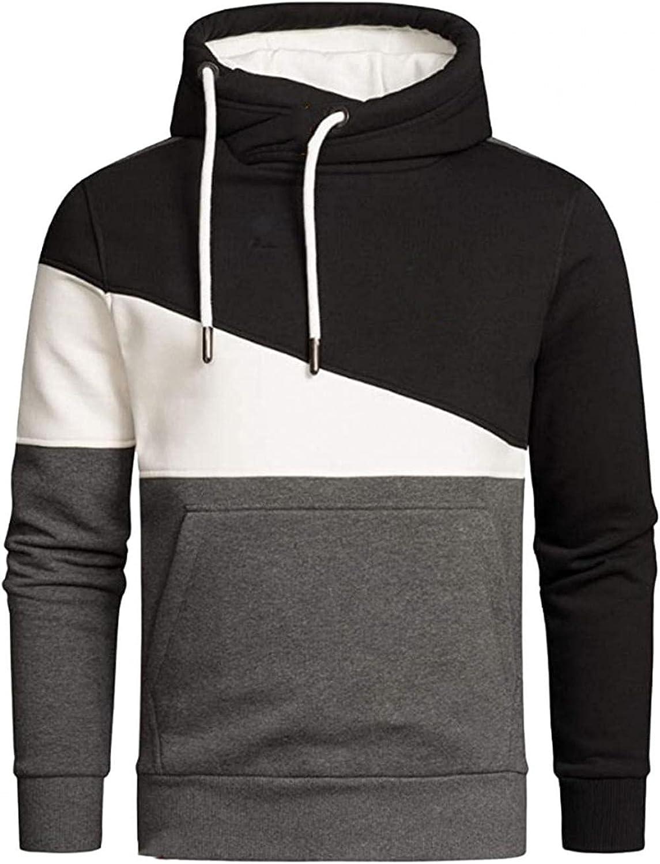 Men's Hoodies Pullover, Mens Hipster Hip Hop Hoodie Colorblock Tshirt Casual Long Sleeve Warm Sweatshirts Sweater Pocket