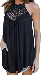 vermers Women Summer T-Shirt Lace Vest Top Sleeveless Blouse Casual Tank Loose Tops