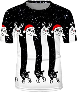 3D Printed Christmas Short-Sleeved Top Black and White Celebration Christmas Elf Xmas Gift Party Beautyfine