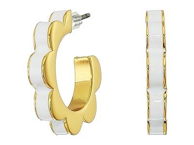 Kate Spade New York Sliced Scallops Enamel Huggies Earrings (White) Earring