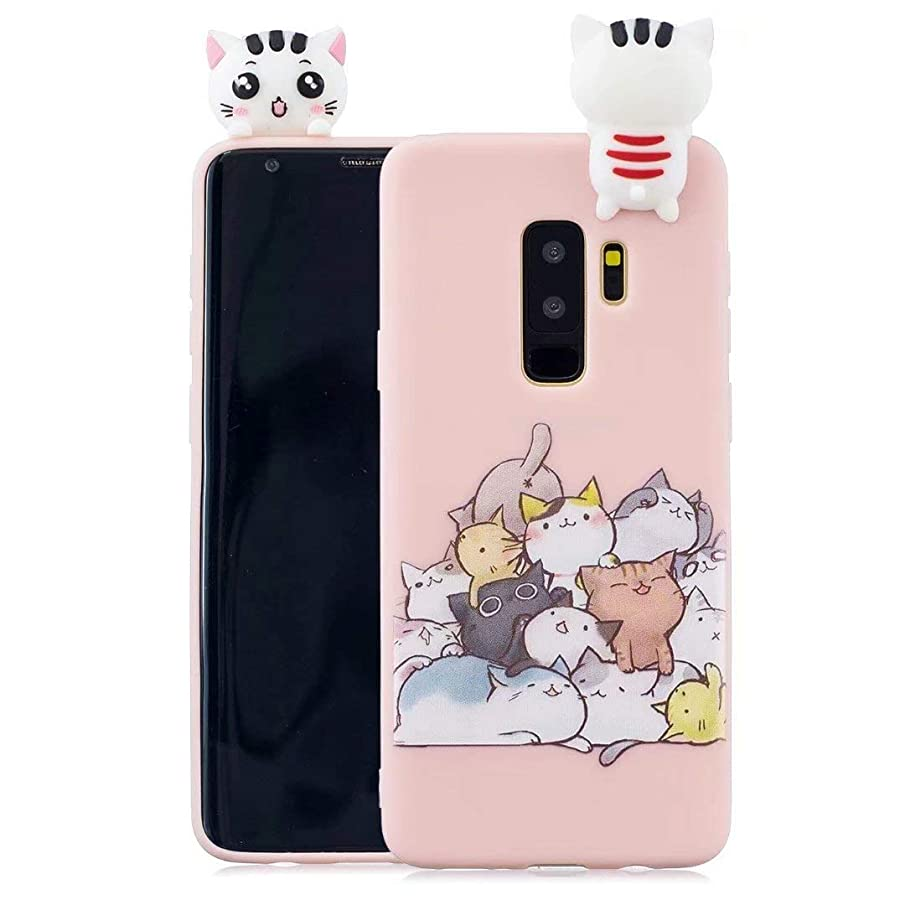 iFunny Fashion Cute 3D Cartoon Animal Lovely Cat Cover,Shockproof and Protective Kawaii Soft Silicone Phone Case for Samsung Galaxy S9 Plus (6.2 inch) (3D Cat)