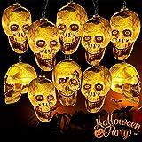 Halloween Cráneo Cadena de Luz 3M con 20 LED,Halloween Decoracion Luces,Cadena de luces LED Scary ,Halloween cadena de luz fantasma cráneo,Decoración del Patio del Hogar De La Fiesta De Vacaciones
