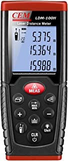 CEM LDM-100H 330ft 100m Outdoor Laser Distance Meter Laser Tape Measure with LCD Backlight,Pythagorean Mode, Measure Distance, Area and Volume,Battery Included (330ft/100m)