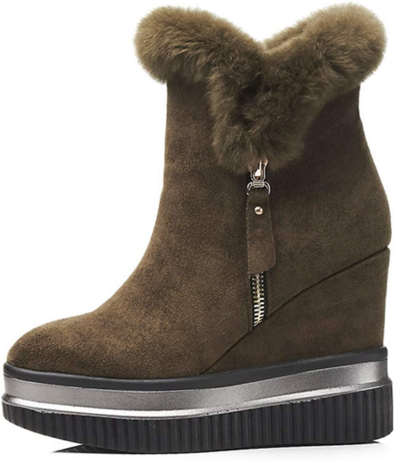 GIY Womens Ankle Snow Boots Skiing Fabric Warm Faux Suede Casual Slip On Winter Platform Wedge Boots