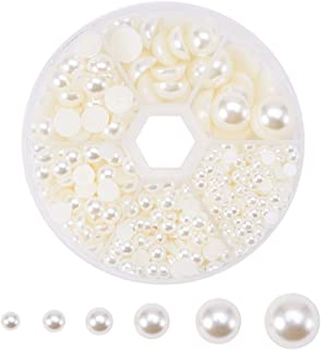 PH PandaHall1 Box (About 690pcs) 6 Sizes Beige Flat Back Pearl Cabochon (4mm, 5mm,6mm, 8mm, 10mm, 12mm)