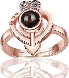 liuzz Heart-Shaped Projection Memory Ring Women 100...