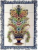 Azul'Decor35 Panel de Pared de 12 Azulejos Pintados, en Loza vidriada, para Cocina, baño, Entrada de la casa - 60x45cm