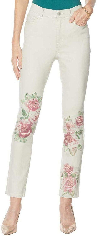 DG2 by Diane Gilman Plus Size Classic Stretch Artwork Printed Jeans. 728914-Plus