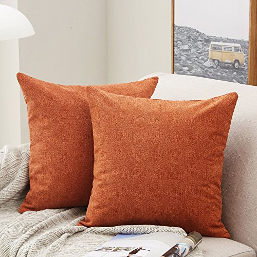 MERNETTE Pack of 2, Thick Chenille Decorative Square Throw Pillow Cover Cushion Covers Pillowcase, Home Decor Decorations For Sofa Couch Bed Chair 18x18 Inch/45x45 cm (Burnt Henna)