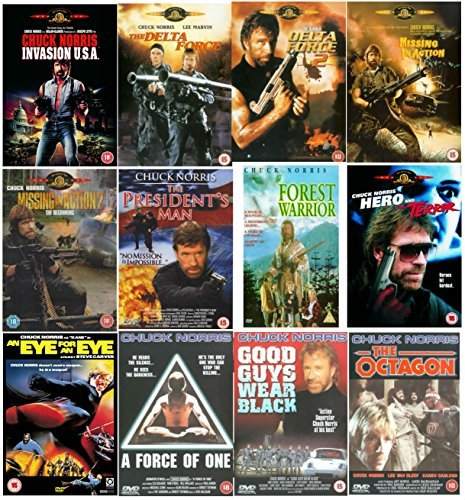 Chuck Norris Ultimate Complete DVD Movie Collection : Invasion USA / The Delta Force / Delta Force 2: The Columbian Connection / Missing In Action / Missing In Action 2 - The Beginning / The President's Man / Forest Warrior 1996 / Hero And The Terror / An Eye For An Eye / A Force of One / Good Guys Wear Black / The Octagon 1980 by Chuck Norris