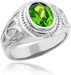 39f066e46e Bold 925 Sterling Silver Oval Green CZ Celtic Men s Ring