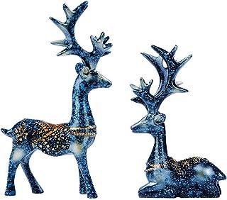 DAFEIJI Soprammobili Moderno Casa Ornamenti Antichi di Cervo in Rame 1 Paio di Statuette di Cervi Sika in Ottone Massiccio Feng Shui Artigianato Scultura Scrivania da Ufficio Deoration