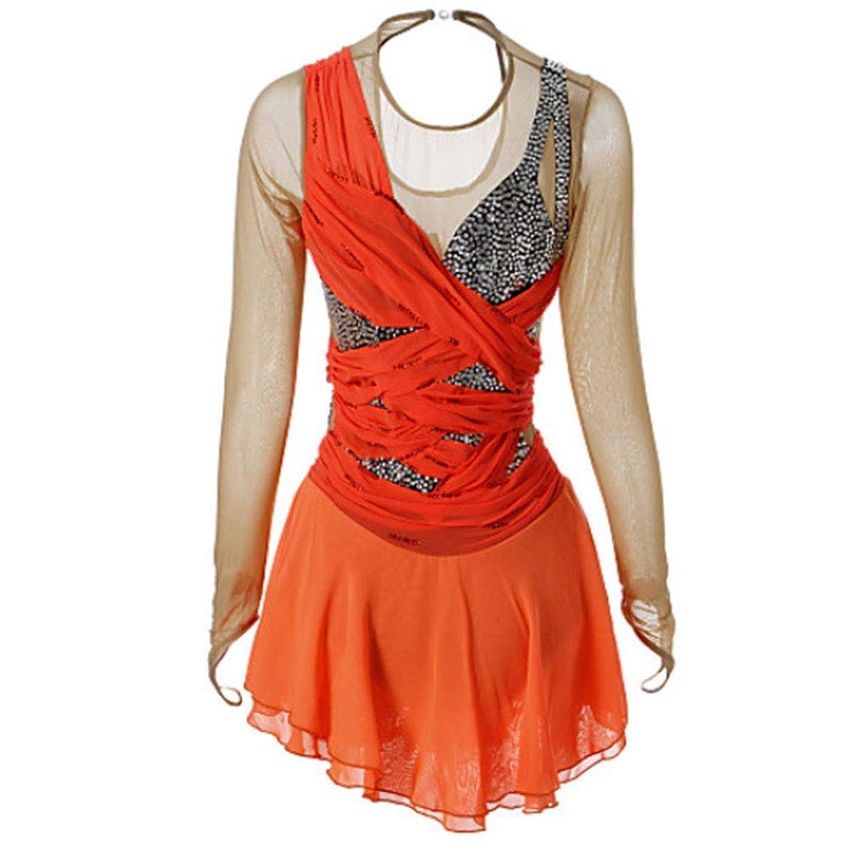 フィギュアスケートドレス女性用アイススケートドレスオレンジエラステイン高弾性コンペティションスケートウェア手作りクラシック長袖,3~4yearsold(110cm)