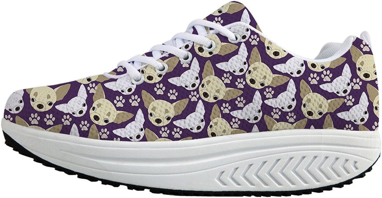 Fashion Print Women Fitness Walking Sneaker Lace up Wedges Platform shoes US 6