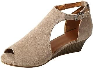 Sandals for Womens, FORUU Platform Wedge Ankle Strap Peep Toe High Heel Shoes