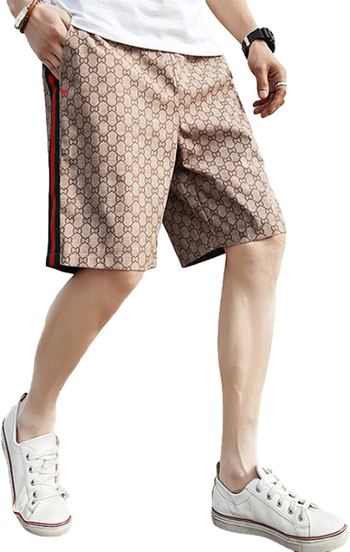 Katenyl Men's Mid-Waist Straight Shorts Fashion ColorBlocking Streetwear Casual