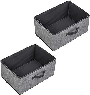 WUHUAROU Panier de Rangement Boîte de Rangement Tissu Non tissé + Carton Gris 2pcs 40 * 28 * 20cm