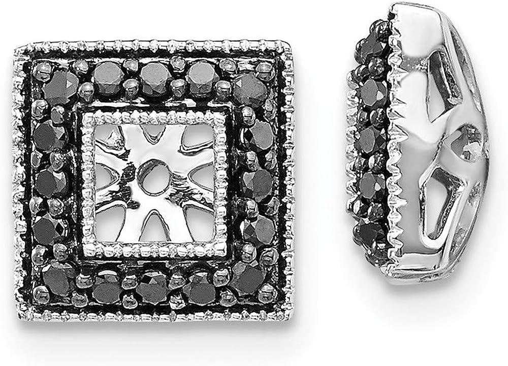 Solid 14K White Gold Black Diamond Square Jacket Earrings 9mm (.272 cttw.)