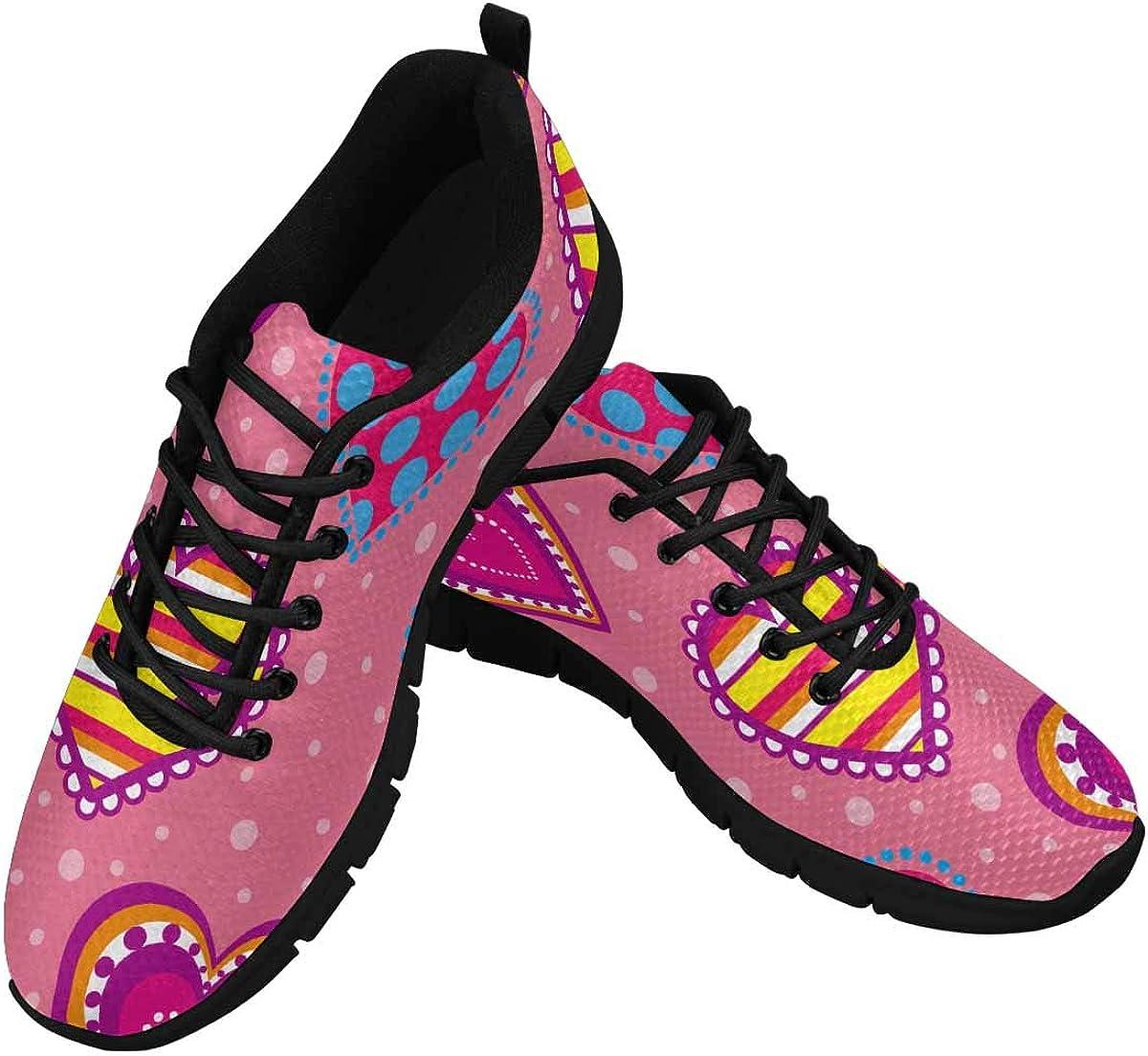 INTERESTPRINT Decorative Multicolor Hearts Women's Athletic Walking Shoes Breathe Comfort Mesh