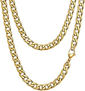 E11 Smile 18K Gold Plated Necklace, Men Jewelry 6MM Wide Hip Hop Turnover Chain Necklace 19.6 In