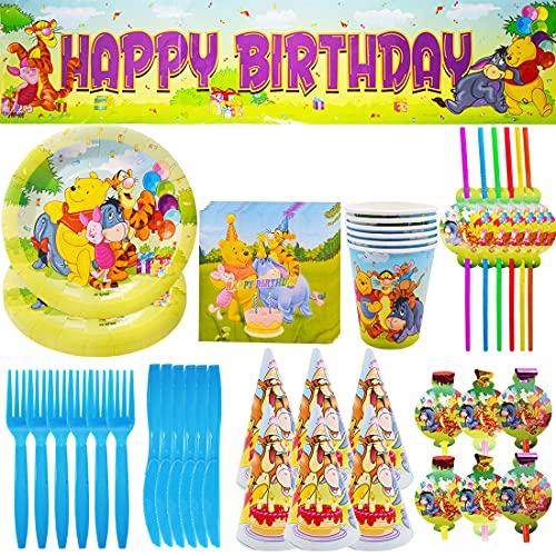 63Pcs Vajilla Fiesta Reutilizable - Miotlsy Vajilla Winnie the Pooh Set, Fiesta de Cumpleaños Baby Showers Favores, Ideal para Postres, Comidas y Bebidas para Fiestas