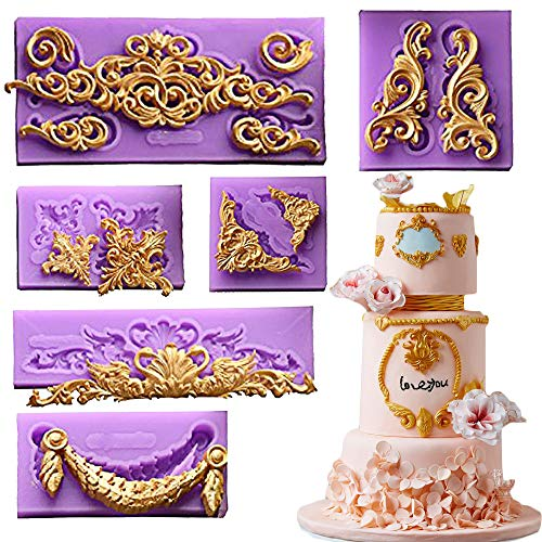 (Set of 6) Baroque Style Curlicues Scroll Lace Fondant Silicone Mold for Sugarcraft, Cake Border Decoration, Cupcake Topper, Jewelry, Polymer Clay, Crafting Projects By Palker sky