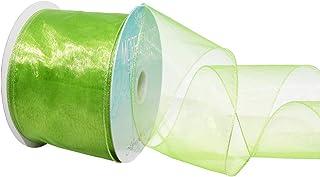 Morex Ribbon Wired 2-1/2-Inch Chiffon Ribbon with 20-Yard Spool, Apple