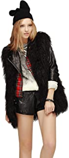 Simsly Autumn Fur Vest Sleeveless Lightweight Faux Fur Vests Winter Warmer Jacket Coat for Women and Girls(Black)