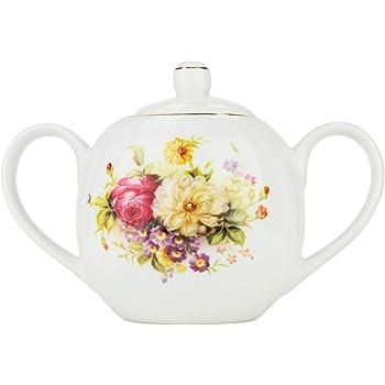 WM Bartleet /& Sons Ceramic White Small Sugar Jam Pot with Spoon