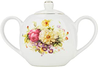 24 Oz Sugar Pot, Vintage Bone China Sugar Bowl with Lid, Floral Design Sugar Server with Handles