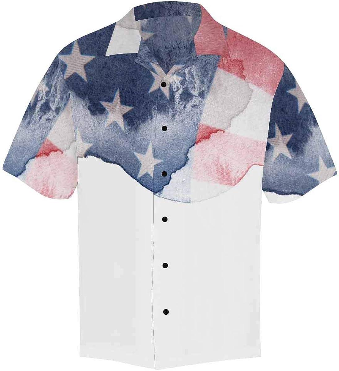 InterestPrint Men's Casual Button Down Short Sleeve Grunge USA American Flag Hawaiian Shirt (S-5XL)
