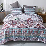 DaDa Bedding Bohemian Paisley Bedspread - Cozy Coconut White Sky Beach Vibes Floral - Bright Vibrant Multi-Colorful Quilted Coverlet Set - Turquoise Blue, Red, Purple, Orange - Queen Size - 3-Pieces