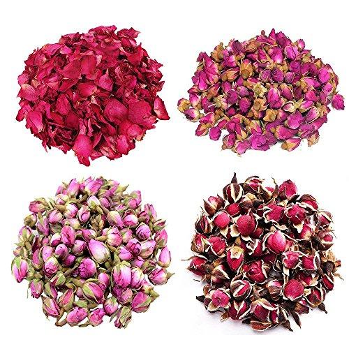 TooGet Fiori di Rosa 4 Borse Include Petali di Rosa, Boccioli di Rosa, Rosa Damascena, Bordo Oro Rosa, Fiore Verde Bulk Flower per Rendere L'olio Botanico, Perfetto per Tutti I Tipi di Artigianato