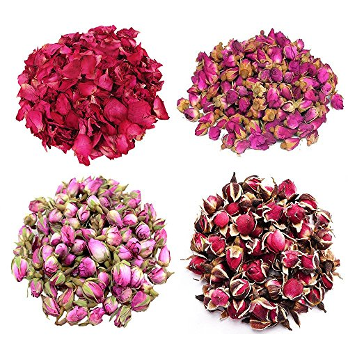 TooGet Flower Petals and Buds Variety Rose 4 Bags Includes Rose Petals, Rose Buds, Rosa Damascena, Golden-Rim Rose, Green Tea Bulk Flower to Make Botanical Oil, Perfect for All Kinds of Crafts