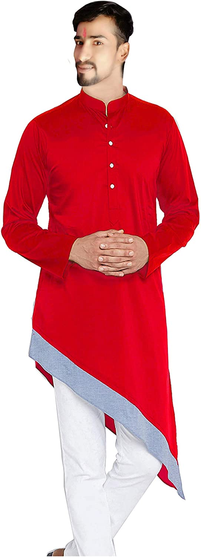 Indian Men's Cotton Kurta Trail Cut Shirt Soild Red Color Tunic Casual Shirt Plus Size