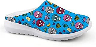 Men's Slippers Mesh Clog Mules Beach Shoes Funny Skull Head Blue Digital Trend Sandals Boys Flat Shoes Slip On Garden Cow