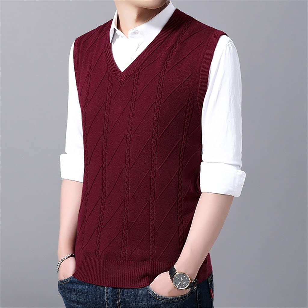 SKREOJF Sleeveless Sweater Mens Pullover V Neck Jumpers Knitting Vest Slim Fit Autumn Casual Mens Clothes (Color : Red, Size : XL CODE)