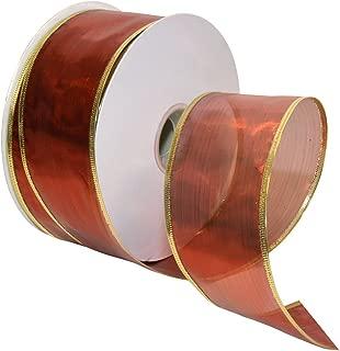 Morex Ribbon Gleam Wired Metallic Sheer Ribbon, 2.5-in x 50-Yd, Red