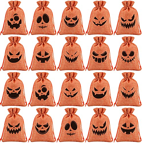 Ruisita 36 Pack Halloween Bags for Candy Mini Burlap Bag Bags with Drawstring 4 x 6 Inch Goodie Treat Fillers for Party Supplies