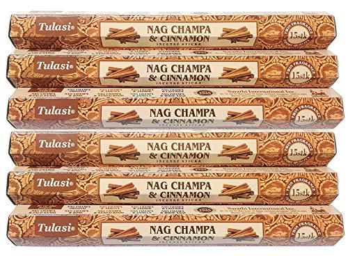 ユーインターナショナル Tulasi ナグチャンパ & シナモン スティック 6個セット 1箱15スティック×6箱