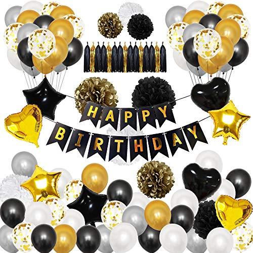 Lapeno Ins Schwarz und Gold Party Dekorationen, Geburtstag Dekorationen 98Pcs mit Happy Birthday Banner Konfetti Latex Luftballons Sterne Herz Folienballons Party Dekor