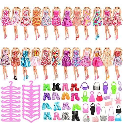 Miunana Lot 60 = 15 Kleider + 15 Paar Schuhe + 15 Bügel + 15 Handtasche, Röcke Puppenzubehör Outfit Kleidung für 11,5 Zoll Mädchen Puppen