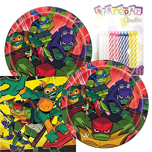 """Rise of The Teenage Mutant Ninja Turtles Birthday Party Pack – Includes 7"""" Paper Plates & Beverage Napkins Plus 24 Birthday Candles – Serves 16"""
