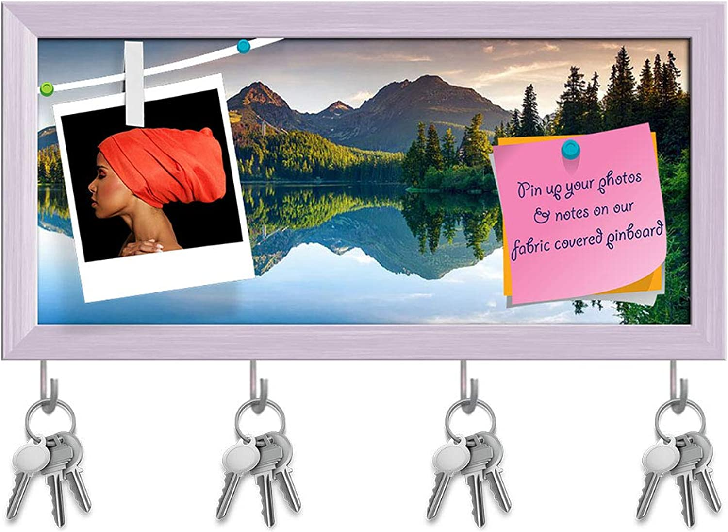 Artzfolio Mountain Lake in National Park High Tatra, Slovakia D3 Key Holder Hooks   Notice Pin Board   White Frame 17 X 8Inch