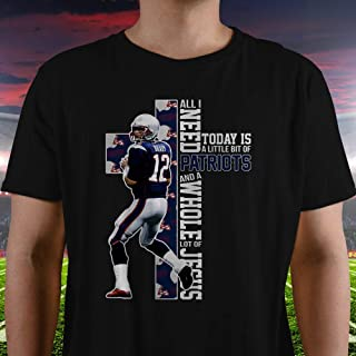 Tom-Brady No.12 New England Football Is All I Need Today And Jesus Christian Cross Shirt Customized Handmade Short-Sleeve | Long Sleeve | Premium Short Sleeve | Hoodie | Sweatshirt | Tank-Top